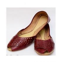 Nawabi Juta Leather Khussa For Women Brown