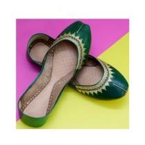Nawabi Juta Leather Khussa For Women Green (0013)