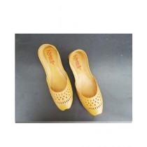 Nayab's Rogue Traditional Leather Khussa Yellow