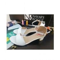 Nayab's Rogue Women's Block Heel Sandle White