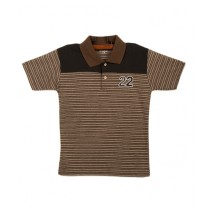 Oxford Cotton Polo T-Shirt For Boys Brown