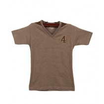 Oxford Cotton V-Neck T-Shirt For Boys Brown