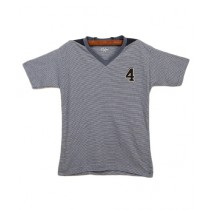 Oxford Cotton V-Neck T-Shirt For Boys Dark Blue