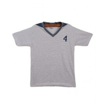 Oxford Cotton V-Neck T-Shirt For Boys Light Blue
