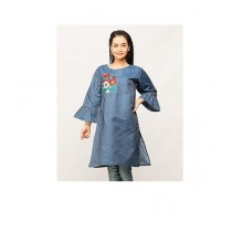 Packs Embroidered Jean Style Frock For Women Blue (DF-00669-WF)