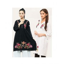 Packs V-Neck Embroidery Kurti For Women Multicolor Pack Of 2 (DF-00671-WF)