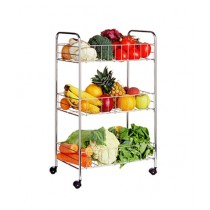 Premier Home 3 Tier Storage Cart Chrome (0509033)