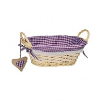 Premier Home Gingham Lining Oval Willow Basket Purple (1901047)