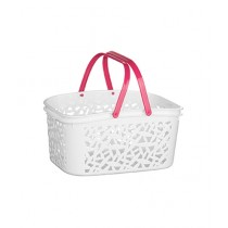 Premier Home Plastic Storage Basket White/Hot Pink (0805257)