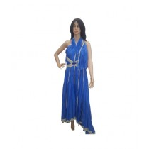 Princess Diaries Latest Fashion Sleeveless Maxi Dress Blue (PD-021)