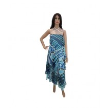 Princess Diaries Latest Fashion Sleeveless Maxi Dress Blue (PD-026)