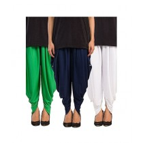 Queenstocks Pack of 3 Cotton Lycra Tulip Shalwar For Women - Multicolor