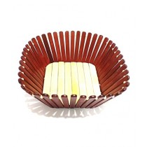 Quickshopping Bamboo Fruits Basket Decoration Bowl Brown (0507)