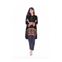 R&H Fashion Cold Embroidery Top For Women - Black