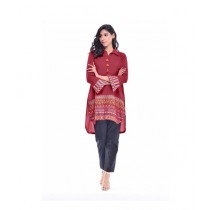 R&H Fashion Cold Embroidery Top For Women - Maroon