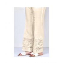 RGshop Motive Embroidered Cig Pant For Women Cream (0443)
