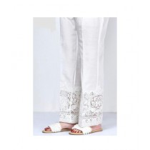 RGshop Motive Embroidered Cig Pant For Women White (0440)