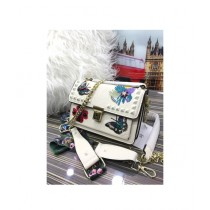 RGshop Traditional Design Embroidered Handbag For Women White