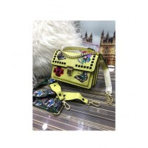 RGshop Traditional Design Embroidered Handbag For Women Yellow
