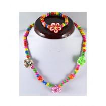 Rhizmall Flower Necklace & Bracelet For Girls Multi-color (0032)