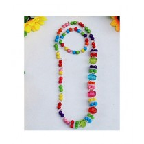 Rhizmall Plastic Beads Necklace & Bracelet For Girls - Multi-color