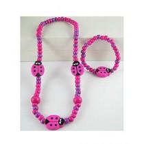 Rhizmall Beetle Necklace & Bracelet For Girls - Purpule/Pink