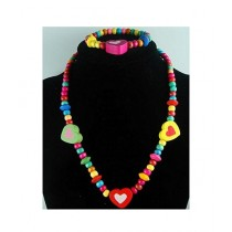 Rhizmall Wooden Necklace & Bracelet For Girls - Multi-color