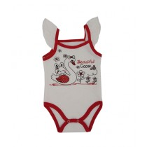 Rompers Top Tank Body Suit For New Born Babies Red/White (0001)