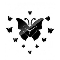 Rubian Butterfly Stylish Wall Clock - Black
