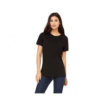 Rubian Cotton Plain T-Shirt For Women - Black