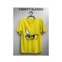 Rubian Store Printed Round Neck T-Shirt For Women Yellow
