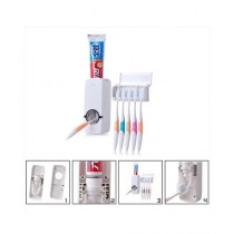 Sadia's Collection Toothpaste Dispenser With Tooth Brush Holder - White