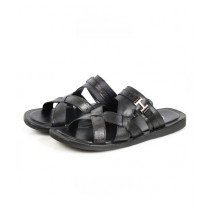 Sage Leather Slipper For Men Black (3369)