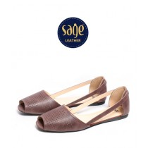 Sage Leather Casual Sandal For Women Coffee (9138)