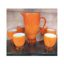 Sale Out Acrylic Water Jug And Glass Set 7 Pcs Orange