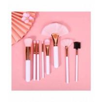 Sasti Market Nine 9 Beauty Makeup Brush Pink 8 Pcs