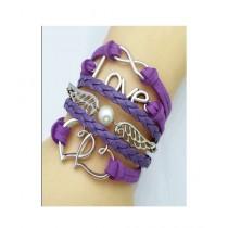 Scenic Accessories Multi-Layered Leather Love Bracelet For Women - Purple