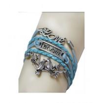 Scenic Accessories Retro Multi-layered Leather Love Bracelet For Women - Blue