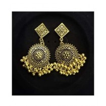 Shaz Jewels Round Jhumka Rust Golden