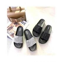 Shoppinggaardi Black Sparkle Slippers For Women (SG-FT1)