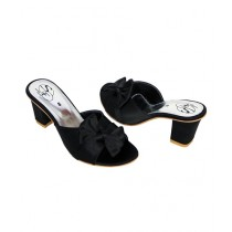 SNF Shoes Rexine Heels For Women Black (763)