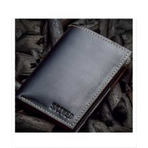 Snug Book Shaped Leather Wallet For Men Charcoal (CC-02)