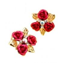 SS Mart 3 Red Roses Flower Earrings For Women (0035)