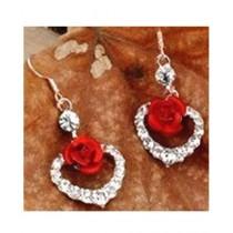 SS Mart Red Rose Flower Earrings For Women (0034)