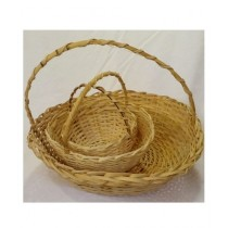 SubKuch Hand Made Wooden Basket Pack Of 3 (Bdp,Pdp)
