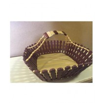 Subkuch Stylish Wooden Basket Brown And White (1133)