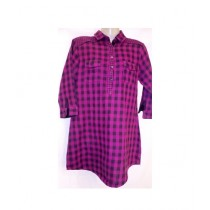 SubKuch Women's Top Shirt Black & Pink Check Style
