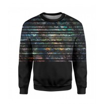 The Warehouse Stripes Printed Sweatshirt For Unisex Black (SS-07)