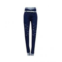 TradeTown Denim Damage Jeans For Women Blue