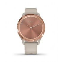 Garmin Vivomove 3S Rose Gold Stainless Steel Bezel Activity Tracking Watch Light Sand With Silicone Band